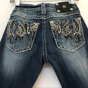 MISS ME BOOT CUT  BEJEWELED STUDDED JEANS 29